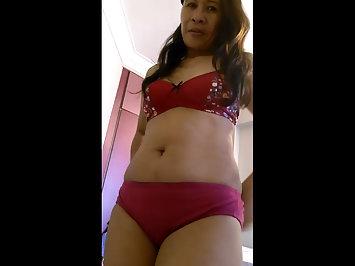 Sensational Nepali Bhabhi Red Exotic Lingerie Nude