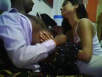 Indian girl giving her boss a blowjob