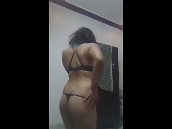Indian babe in sexy black bra and thong