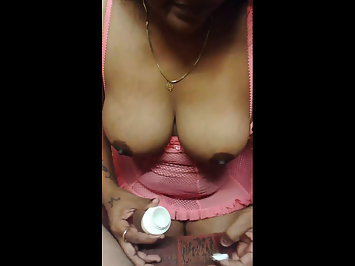 Big Breasted Desi Aunty Jerking Meaty Cock