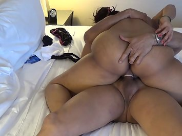 Hot Indian wife in bedroom riding on top on her